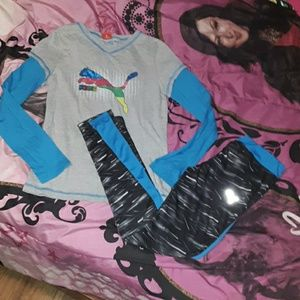 Puma girls 12/14 outfit- leggings w ls top